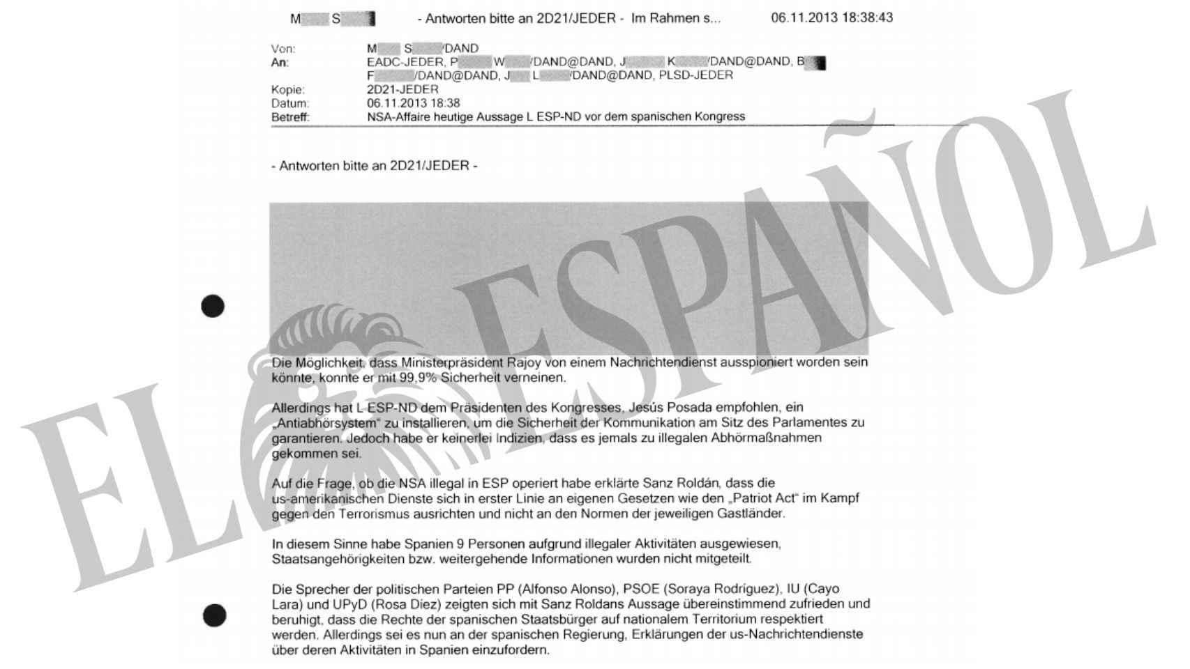 Documento clasificado sobre la comparecencia del director del CNI en el Congreso.