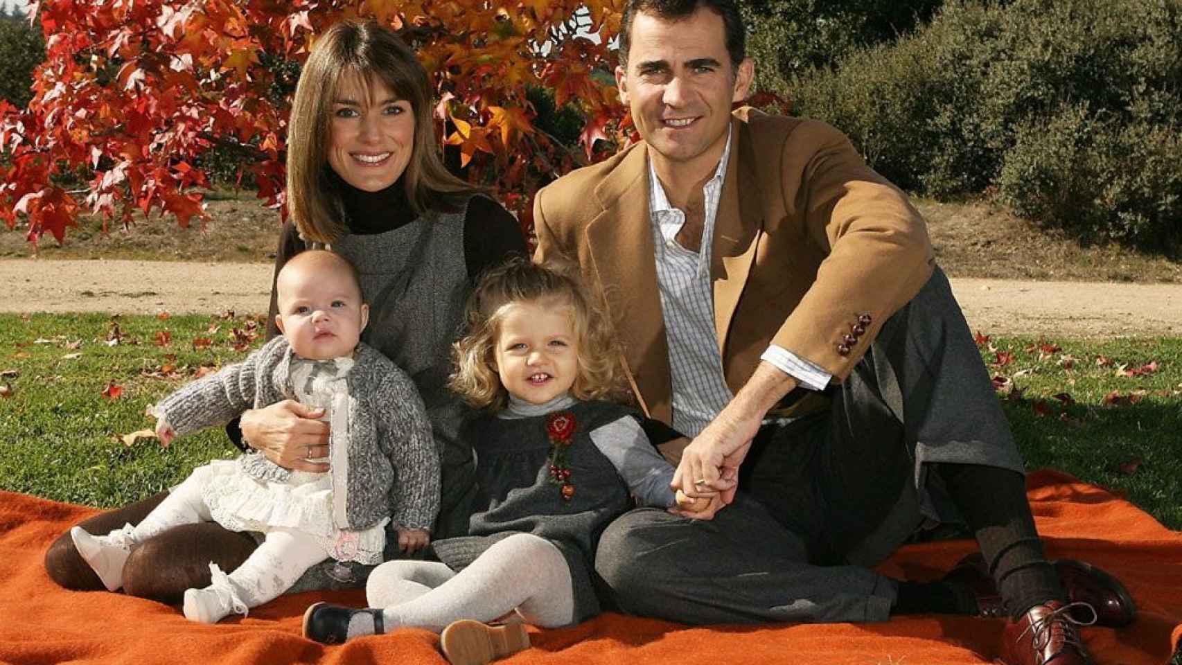 En 2007 la familia al completo felicitó las fiestas con esta estampa otoñal