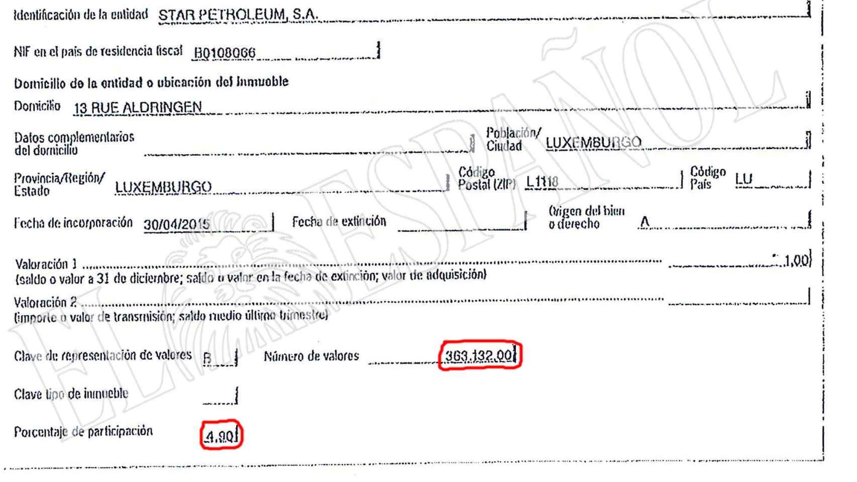 Los documentos que Cebrián presentó a Hacienda en marzo de este año.