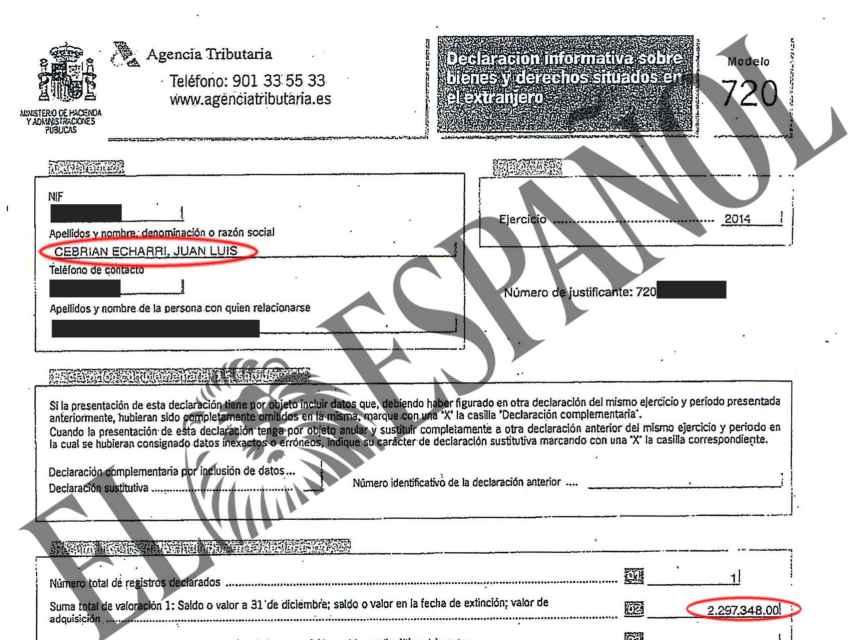 Uno de los documentos que Cebrián presentó a Hacienda.