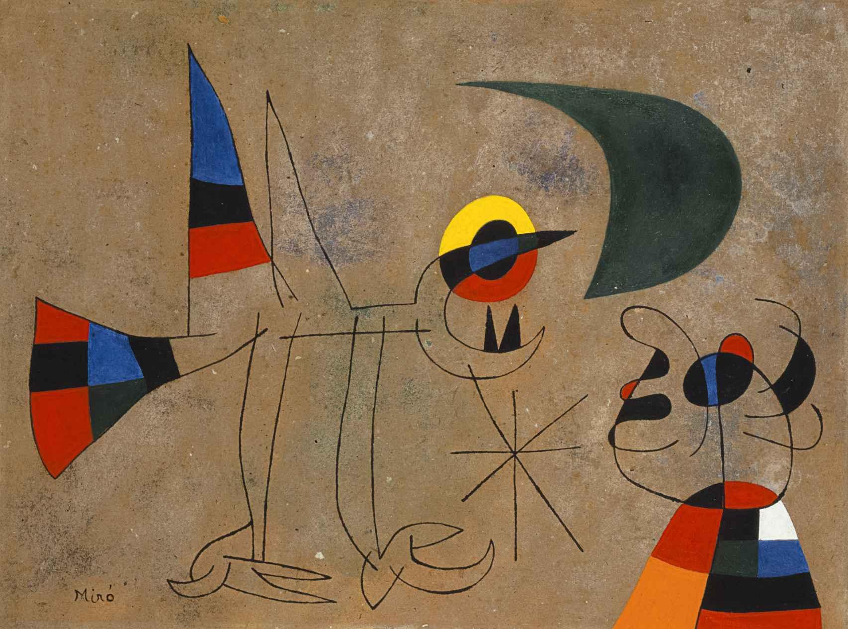 El canto del pájaro al rocío de la luna, Joan Miró, 1955