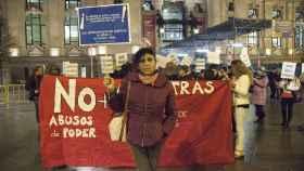 Una de las prostitutas durante la manifestación en el Ayuntamiento