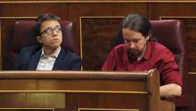 Errejón e Iglesias este miércoles en el Congreso.