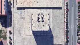 Vista de la pintada realizada en el forjado de la planta 13 del edificio Torre Norte.