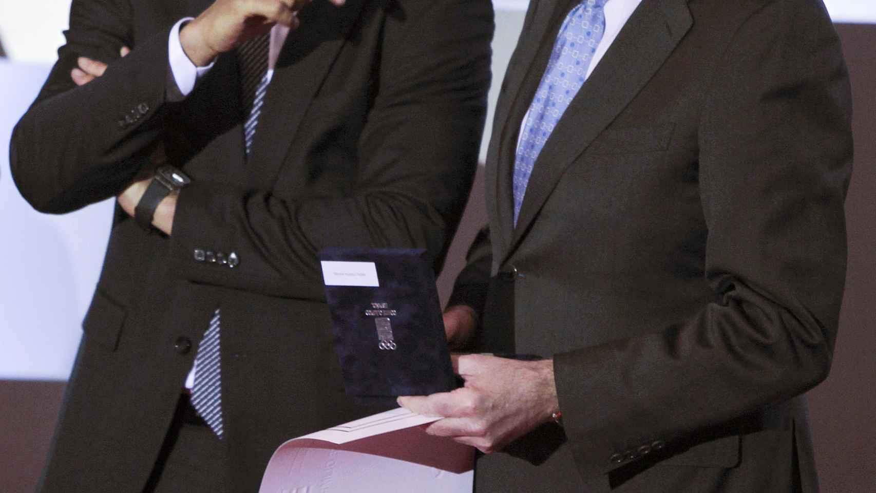 Rafa Nadal y Rajoy, este miércoles durante la gala.