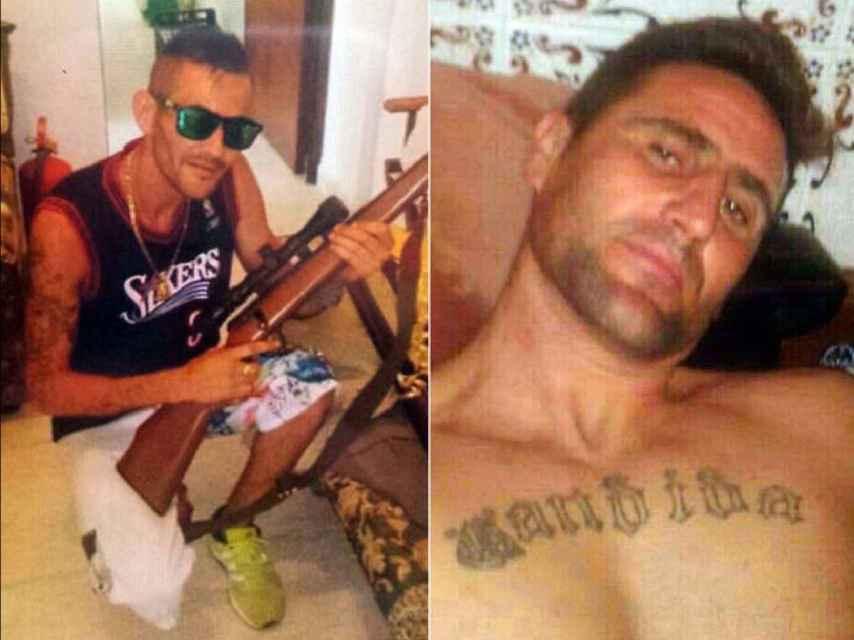 El clan de Los Cachimba. A la derecha, Pedro Venegas, el que agredió al policía. A la izquierda, con un rifle, su hermano Jorge.