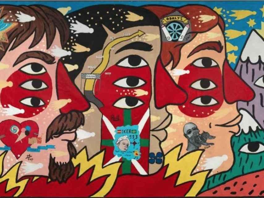 Mural del artista e ilustrador Ricardo Cavolo, junto a trabajos de presos de Tarragona.