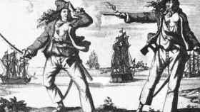 Grabado representando a Grace O'Malley, la reina de los piratas.