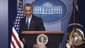 Barack Obama, en su última rueda de prensa de 2016 desde la Casa Blanca.