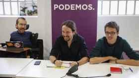 Pablo Echenique, Pablo Iglesias e Íñigo Errejón, este sábado en Madrid.
