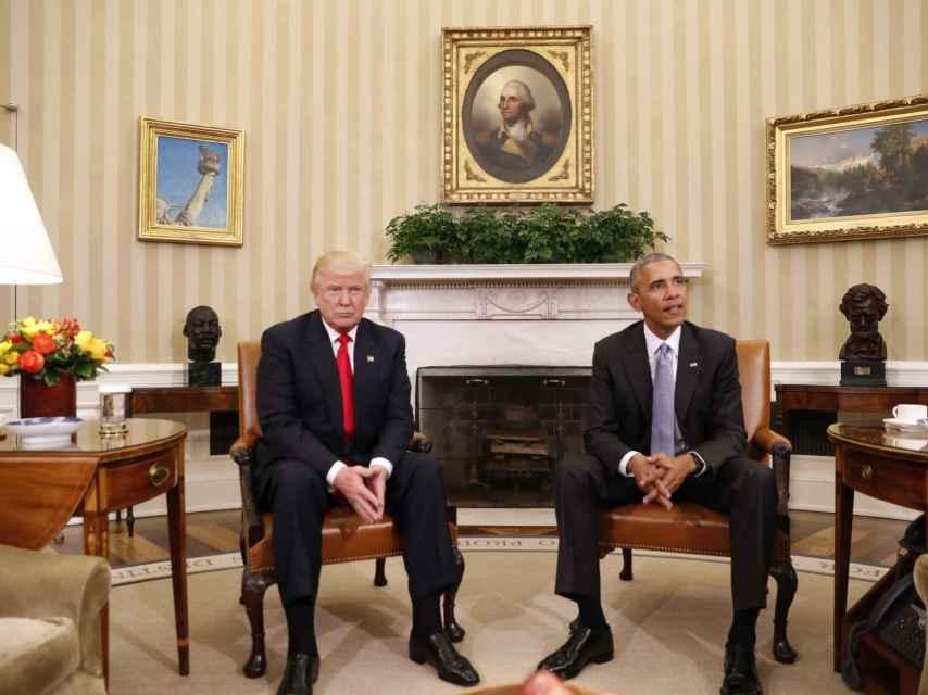 Donald Trum y Obama en el despacho oval de la Casa Blanca