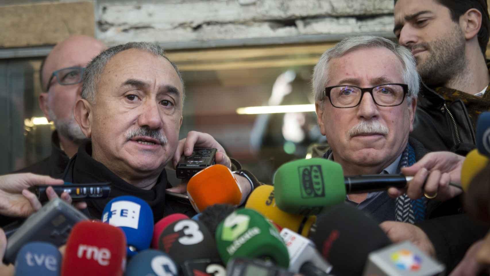 Álvarez y Toxo, durante su comparecencia ante los medios.