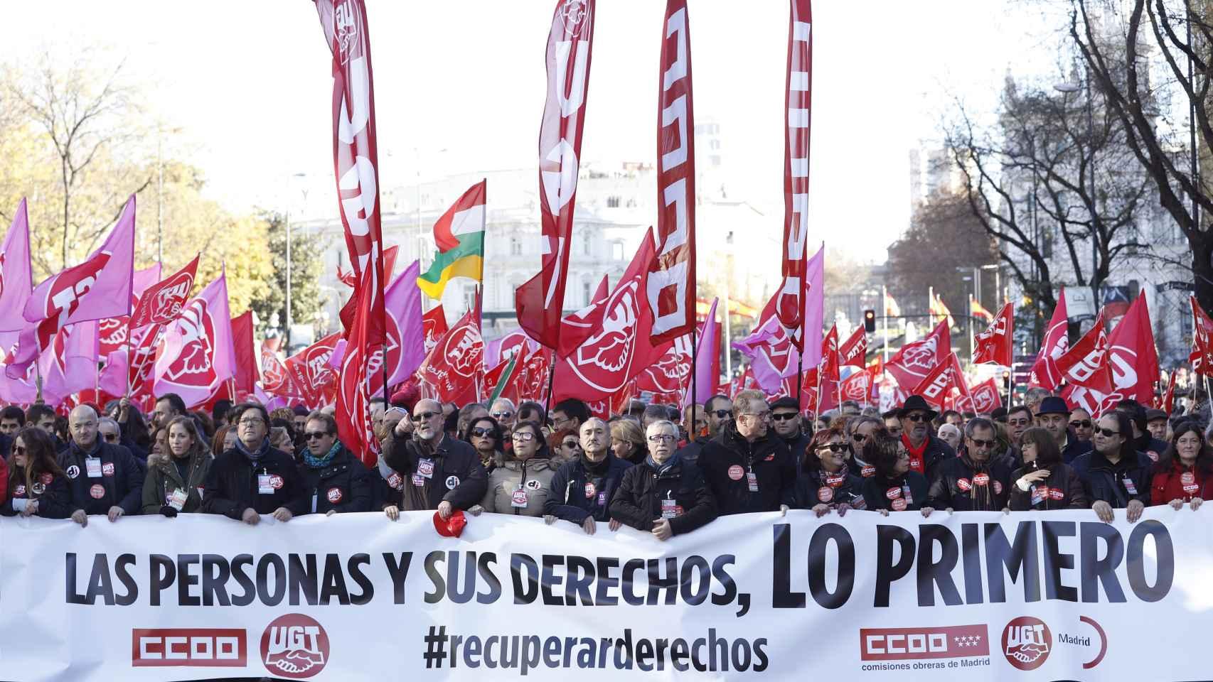 Vista general de la cabecera de la manifestación.