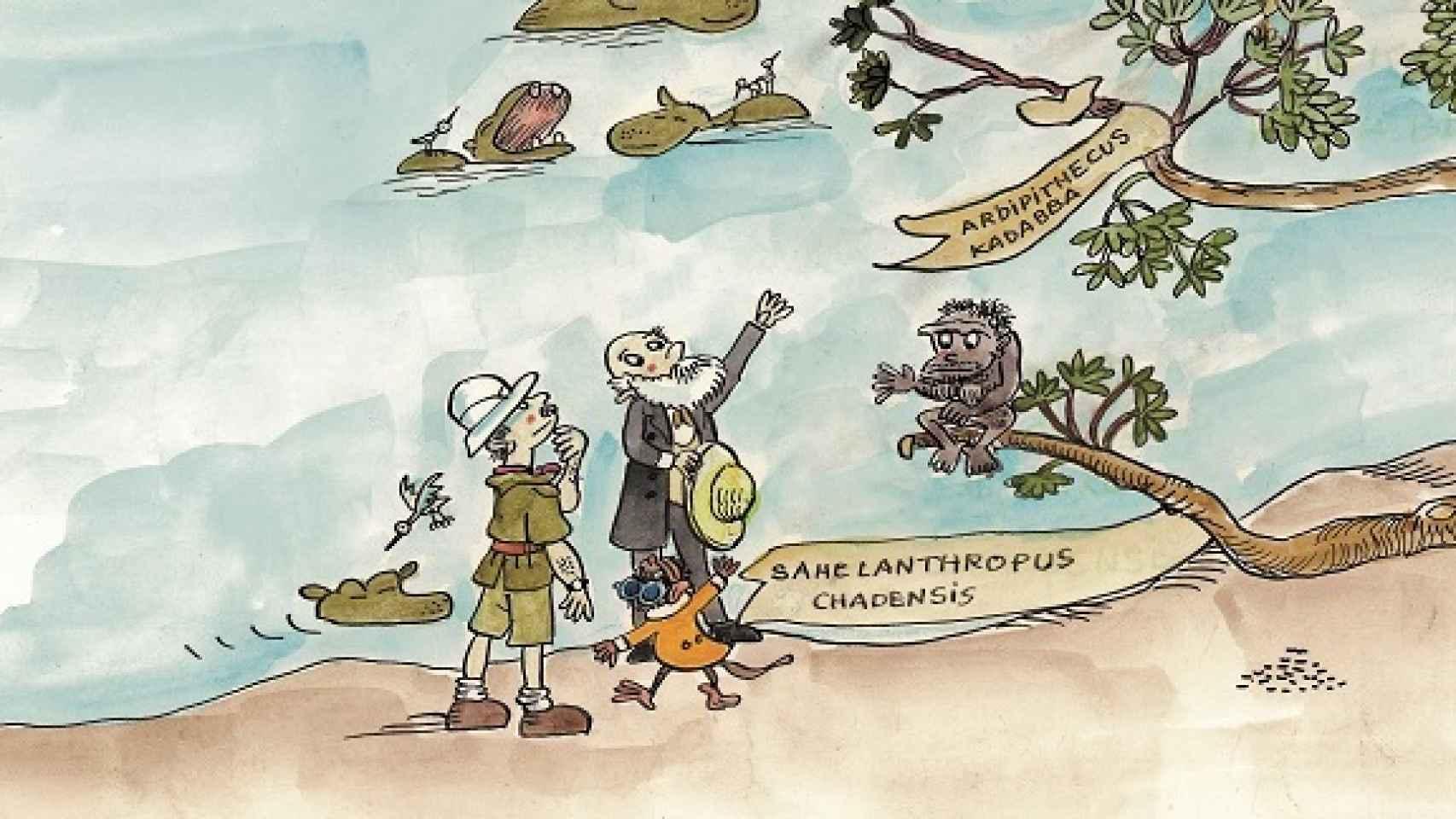 Carbonell y Darwin contemplan el árbol de la evolución.
