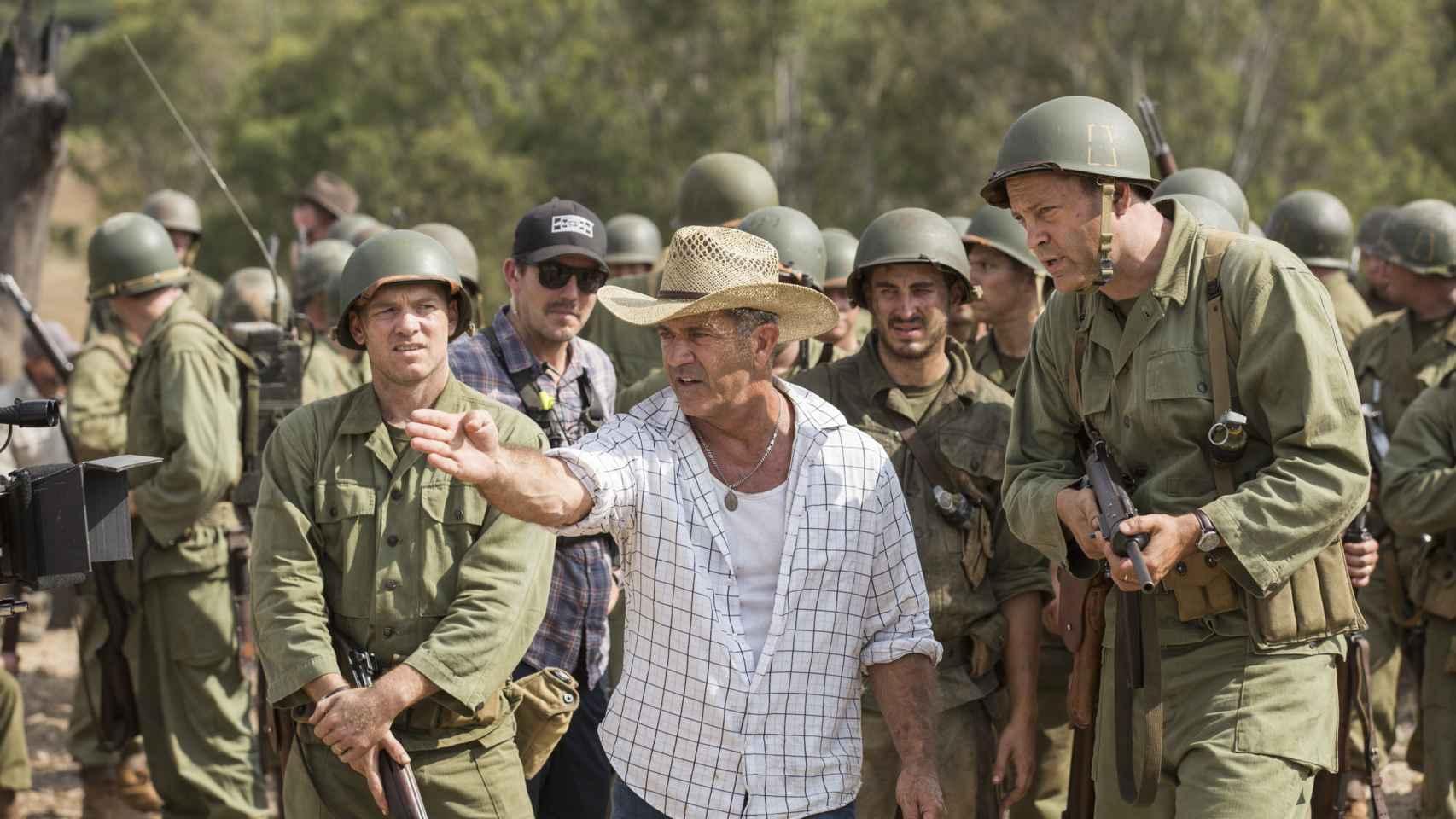 Mel Gibson en el rodaje Hasta el último hombre.
