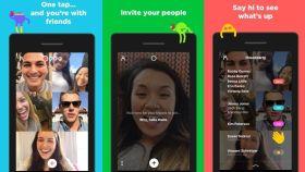Tres pantallazos de la aplicación.