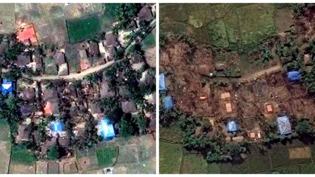 El poblado de Kyet Yoe Pyin en Myanmar antes y después.