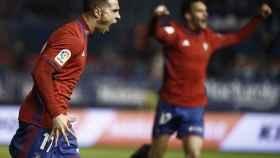 Jaime Romero celebra su gol con Osasuna ante el Granada.