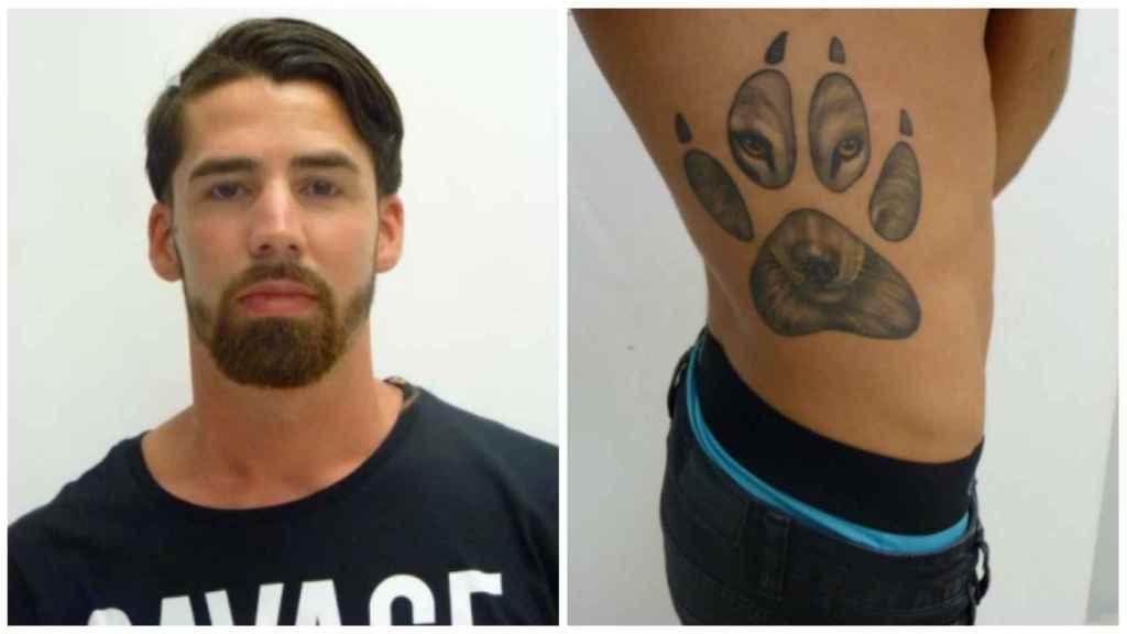 Jesús Escudero lleva tatuado en el costado derecho de su torso la huella de un lobo.