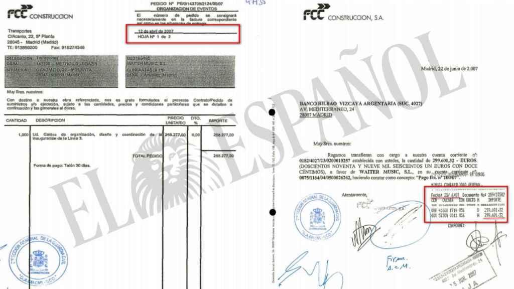 Facturas requeridas a FCC por la Guardia Civil.