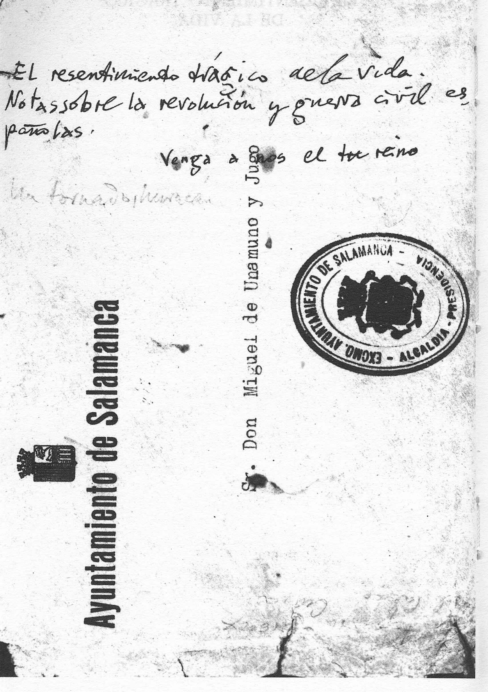 Manuscrito con el título de su libro El resentimiento trágico de la vida, en una carta de la Casa Museo de Unamuno.