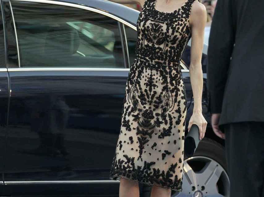 La reina a su llegada al Teatro Campoamor de Oviedo.