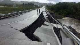 Una carretera afectada por el temblor en Tarahuin