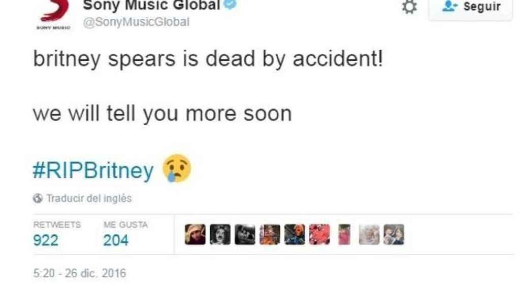 Mensaje en la cuenta de Sony Music