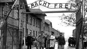 Enero de 1945, salida de los supervivientes del campo de Auschwitz tras su liberación.