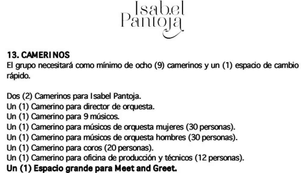El camerino de Isabel Pantoja.