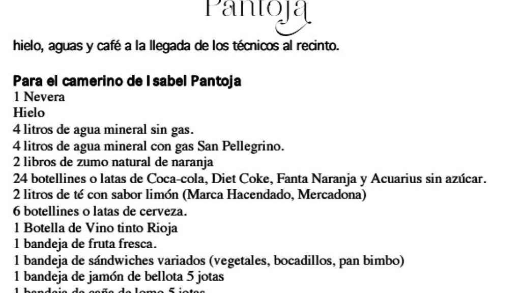 Bebida y comida para Isabel Pantoja.