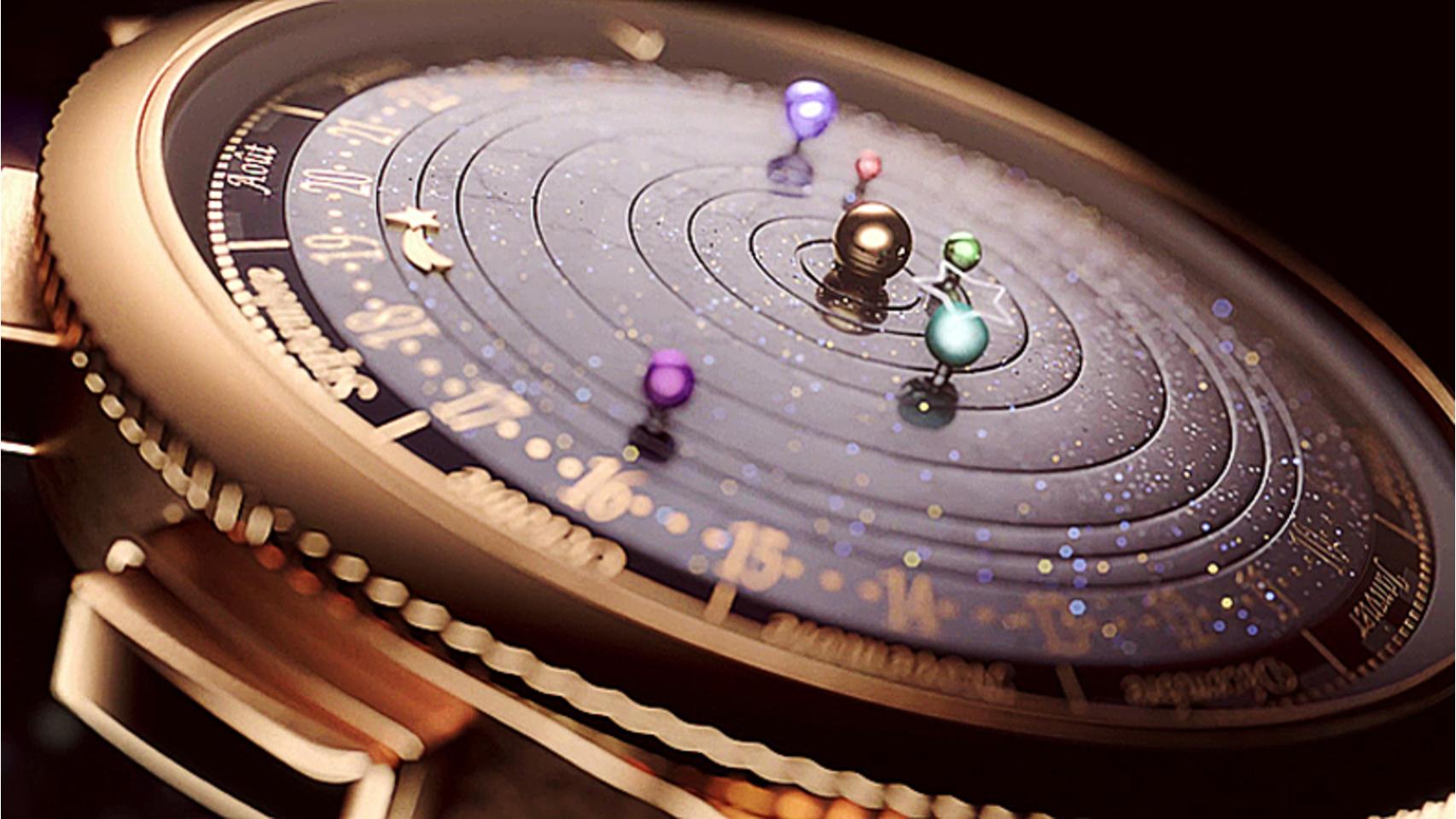 Planetario Poético de Van Cleef & Arpels con elementos astrológicos. Contiene seis discos giratorios, representando los seis planetas visibles desde la Tierra.