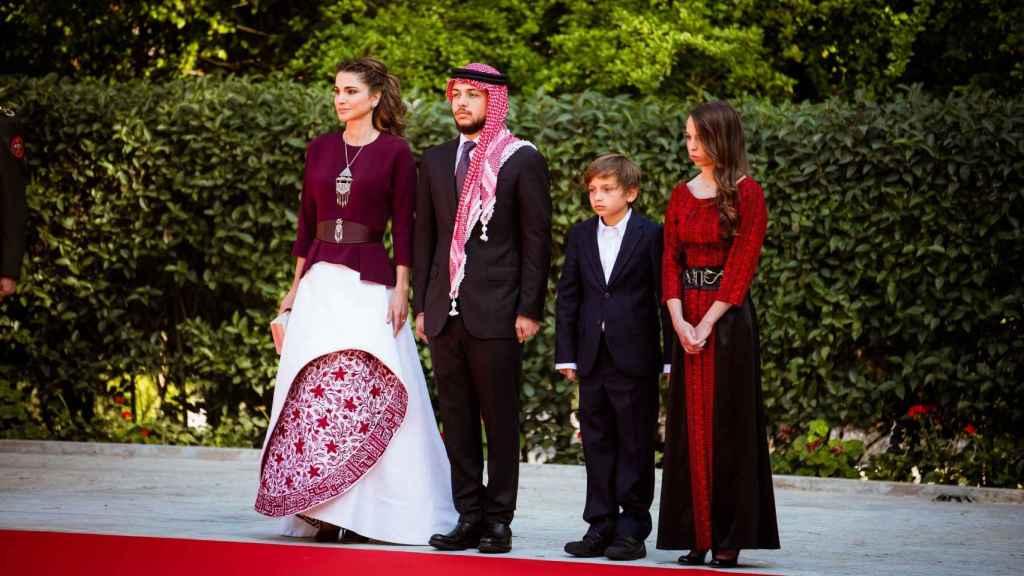 Parte de la Familia Real jordana en el Día de su fiesta nacional.