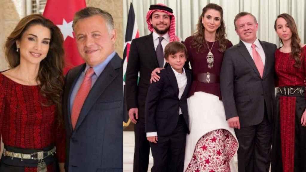 Rania de Jordania (izda) con el mismo modelito que su hija (dcha) en un montaje de EL ESPAÑOL.