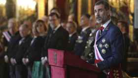 El rey Felipe VI pronuncia su discurso durante la celebración de la Pascua Militar.