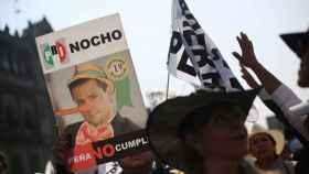 El presidente Peña Nieto, en una pancarta en Ciudad de México.