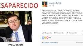 El mensaje que ha compartido en redes sociales el hermano de Pablo Erroz.
