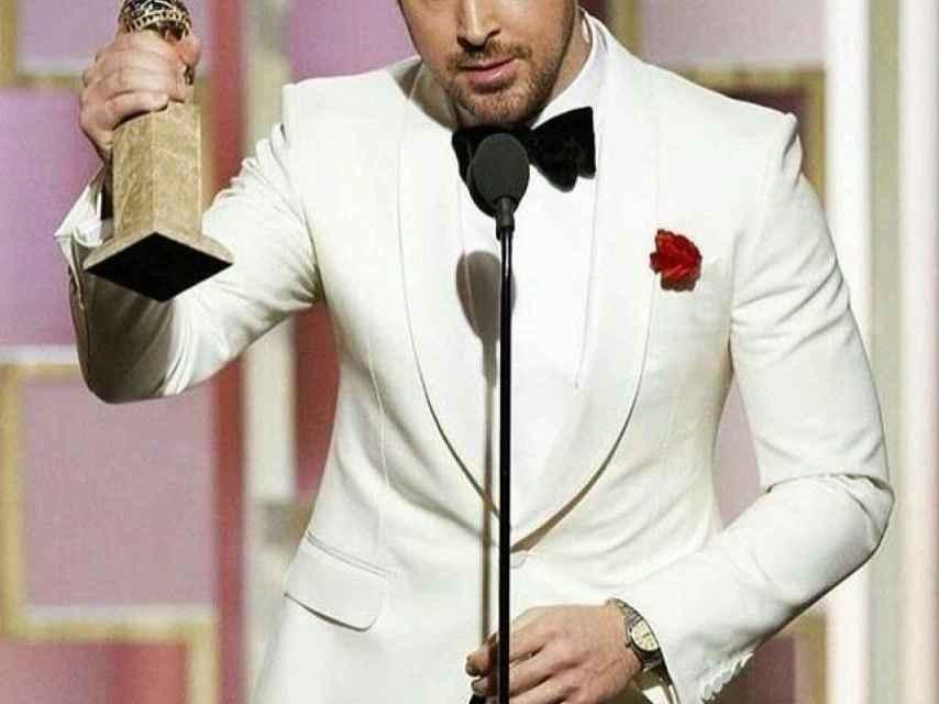Ryan Gosling durante los Globo de Oro.