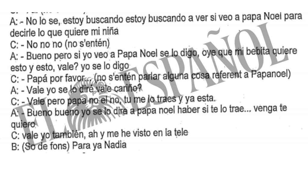 Extracto de la conversación entre la pequeña y su padre.