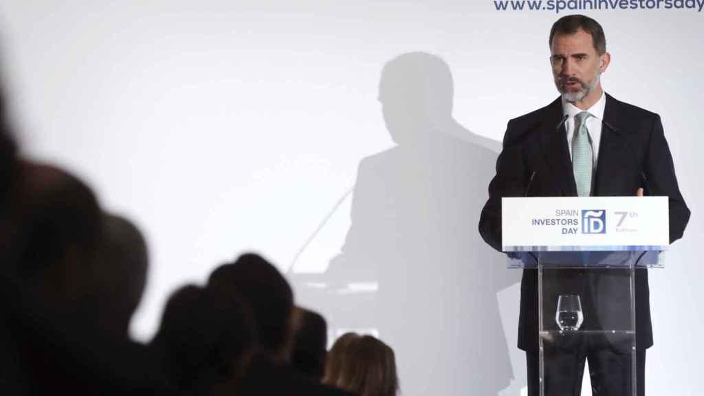 El rey Felipe VI durante su intervención en la inauguración de la VII edición del Spain Investors Day.