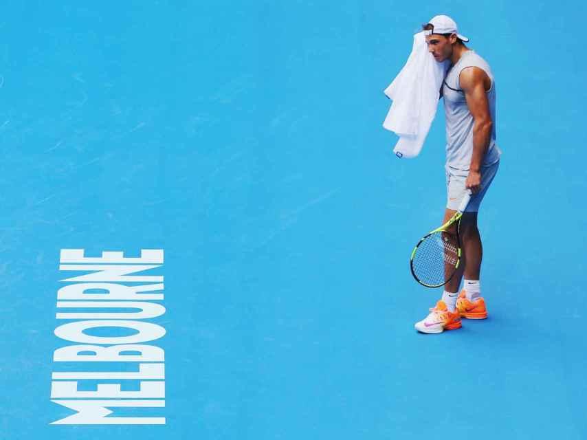Nadal, durante un entrenamiento en Melbourne previo al Open de Australia.