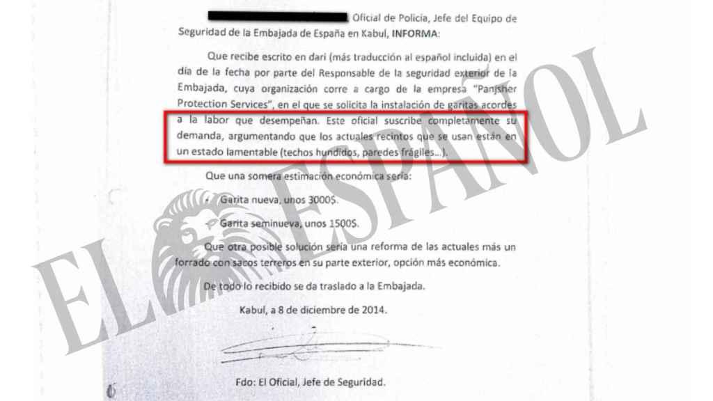 Una de las peticiones enviadas por el jefe de Seguridad de la embajada.
