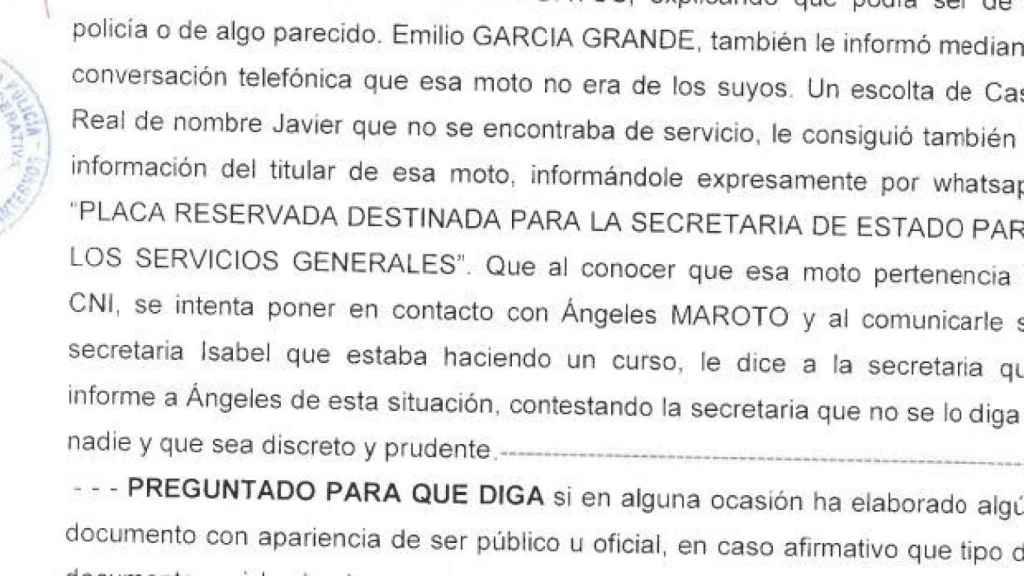 Extracto de la declaración de Francisco Nicolás Gómez Iglesias ante la Policía.