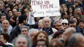 Una pancarta sobre la polémica en una manifestación contra la corrupción en Valencia.