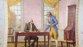Washington y Hamilton trabajando en el discurso.