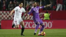 Sergio Ramos en el partido de este domingo en el Pizjuán.