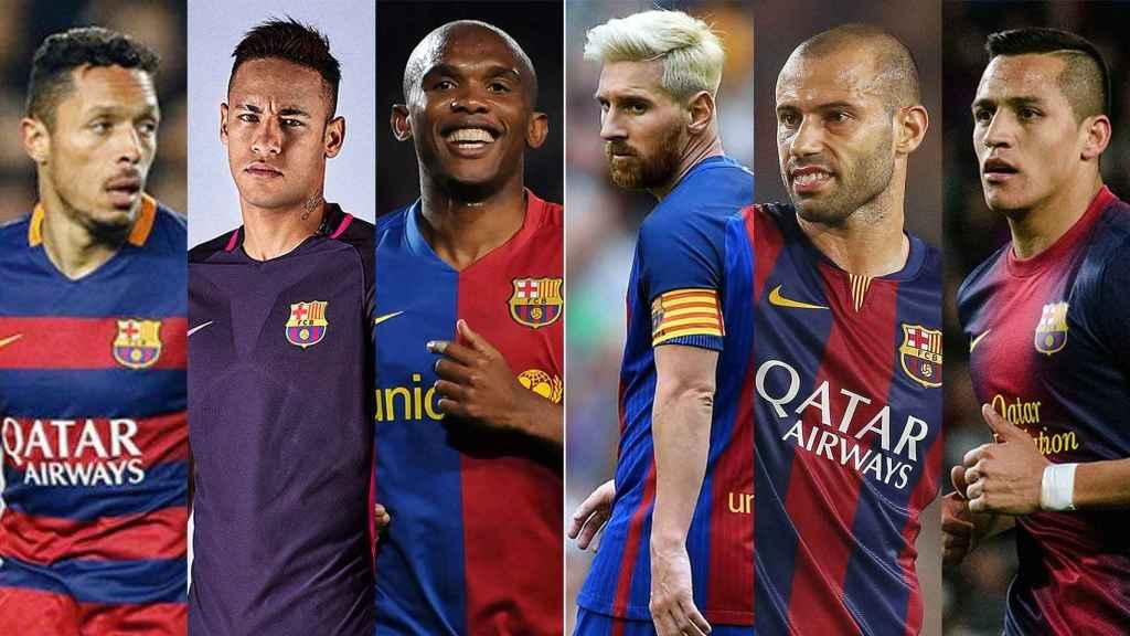 De izquierda a derecha: Adriano, Neymar, Eto'o, Messi, Mascherano y Adriano.