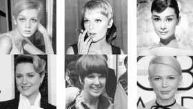 De izquierda a derecha y de arriba a abajo: Twiggy, Mia Farrow, Audrey Hepburn, Evan Rachel Wood, Mary Quant y Michelle Williams.