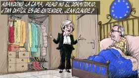 La primera ministra británica Theresa May y el presidente de la CE, Jean-Claude Juncker