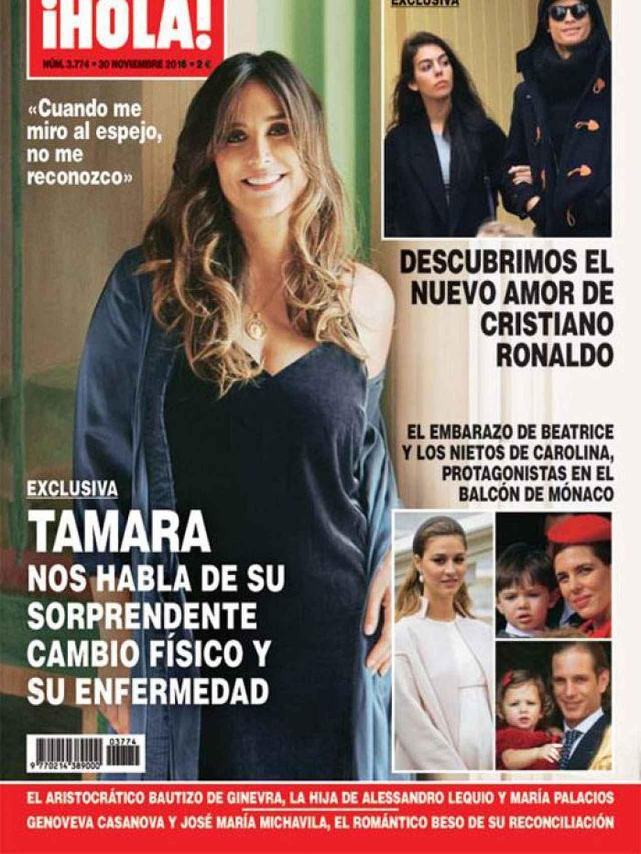 Portada de Tamata falcó en la revista 'HOLA! contando su problema de salud.